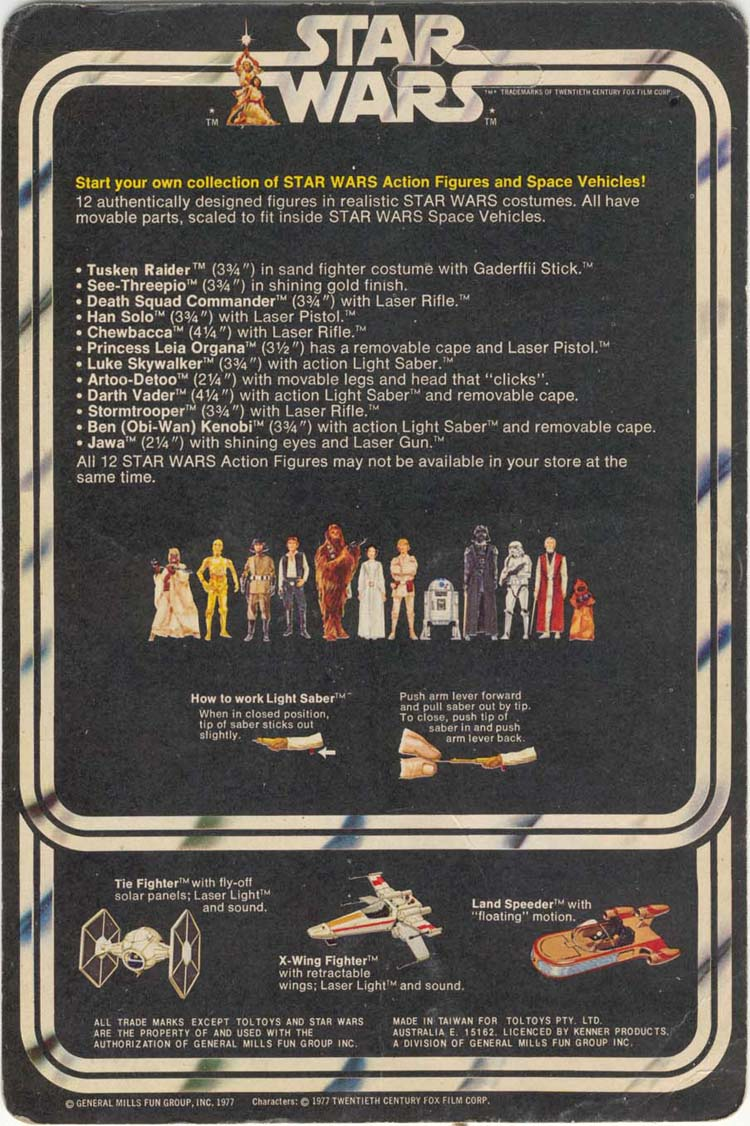Star Wars 12 back card